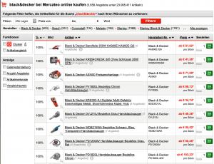 """Suchergebnisseite für """"Black&Decker"""" bei Mercateo"""