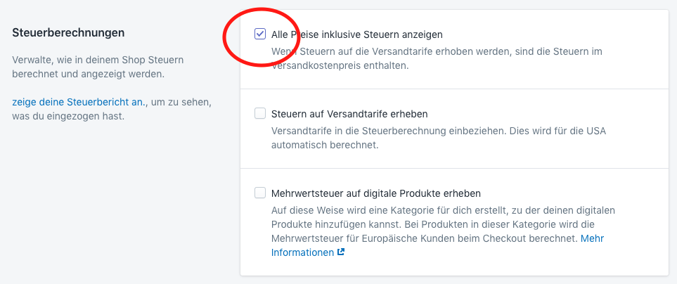 Grafik Shopify Steuer-Konfiguration